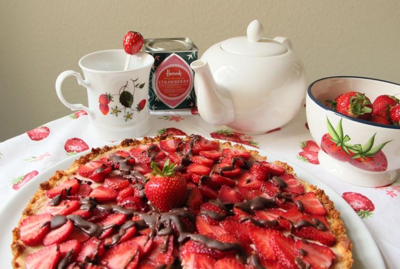 Tarte aux fraises chocolatée