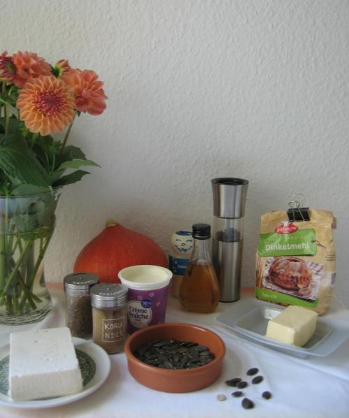 Zutaten für die Kürbis-Tarte vom Blech