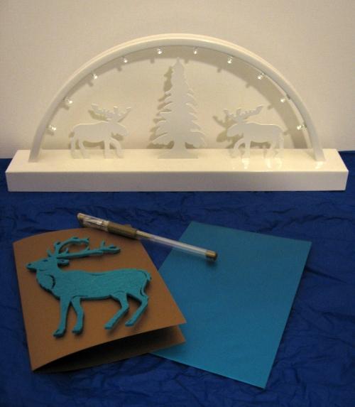Goldene Weihnachtskarte mit Hirsch aus Filz
