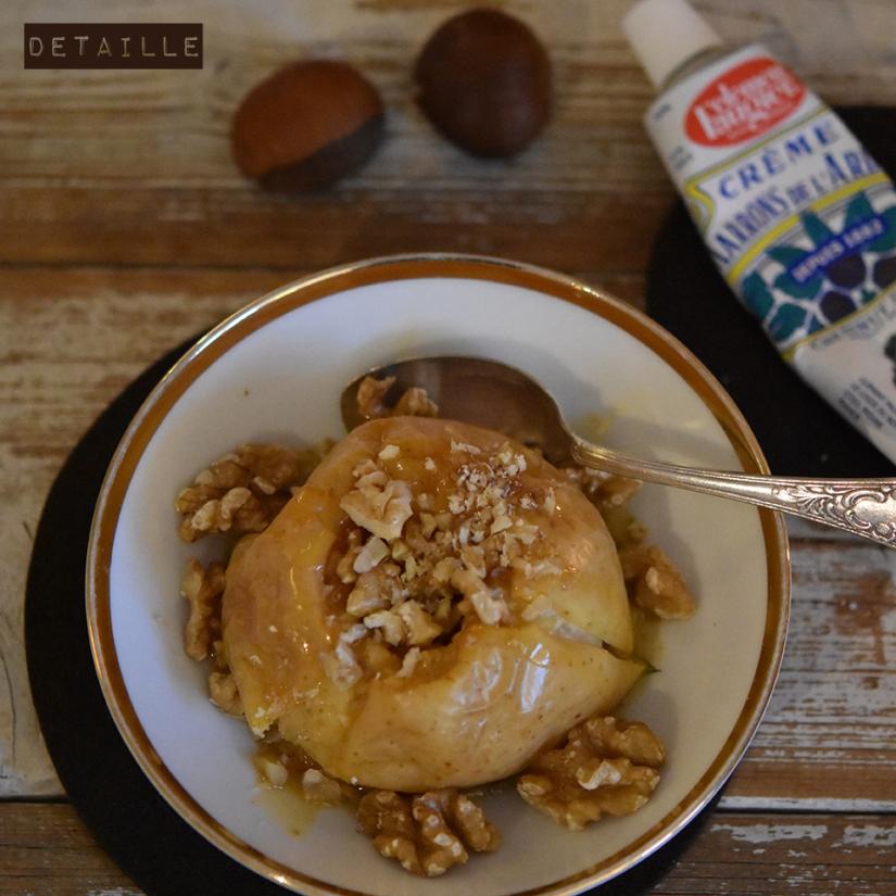Bratapfel mit Maronencreme und Walnüssen